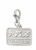 Rembrandt Silver Engravable Triathalon Lobster Claw Charm