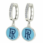 Rhode Island Rams Enamel Large CZ Hoop Earrings
