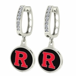 Rutgers University Enamel Large CZ Hoop Earrings
