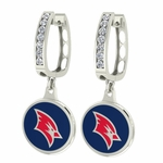 Saginaw Valley SVSU Cardinals Enamel Large CZ Hoop Earrings