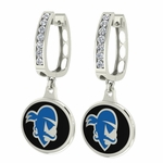 Seton Hall Pirates Enamel Large CZ Hoop Earrings