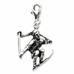 Silver 3-D Antiqued Skier Charm