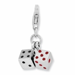 Silver 3-D Black and Red Enamel Pair of Dice Charm