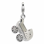 Silver 3-D Enamel Baby Carriage Charm