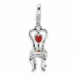 Silver 3-D Enamel Chair with Heart Charm