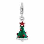 Silver 3-D Enamel Red and Green Christmas Tree Charm