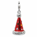 Silver 3-D Enamel Red Party Hat Charm