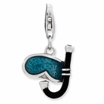Silver 3-D Enamel Snorkel and Mask Charm