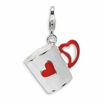 Silver 3-D Enameled Coffee Cup with Heart Charm