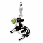 Silver 3-D Enameled Cow Charm