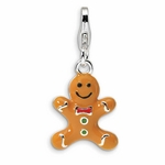 Silver 3-D Enameled Gingerbread Cookie Charm