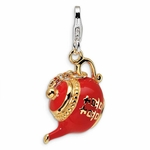 Silver 3-D Enameled Gold-plated Tea Pot Charm