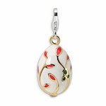 Silver 3-D Enameled Gold-plated White Egg Charm