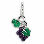 Silver 3-D Enameled Grapes Charm