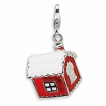 Silver 3-D Enameled House with Snow on Roof Charm