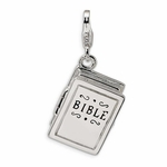 Silver 3-D Enameled Opening Bible Charm