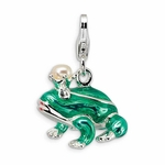 Silver 3-D Enameled  Pearl Crystal Frog Charm