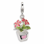 Silver 3-D Enameled Potted Flowers Charm