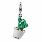 Silver 3-D Enameled Potted Green Cactus Charm