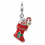 Silver 3-D Enameled Red Holiday Stocking Charm
