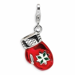 Silver 3-D Enameled Red Mitten Charm
