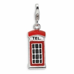 Silver 3-D Enameled Red Telephone Booth Charm