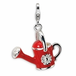Silver 3-D Enameled Red Watering Can Charm