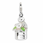 Silver 3-D Enameled Thank You Flowers Charm