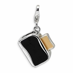 Silver 3-D Enameled Toaster with Toast Charm