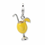 Silver 3-D Enameled Tropical Drink Charm