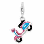 Silver 3-D Pink and Blue Enamel Scooter Charm