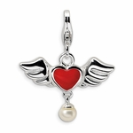 Silver 3-D Red Heart Charm