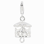 Silver Antique Moveable Carousel Charm