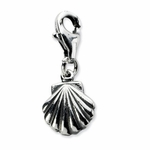 Silver Antiqued Clam Shell Charm