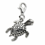 Silver Antiqued Turtle Charm