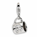 Silver CZ Baby Cup Charm