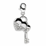 Silver CZ Heart and Key Charm