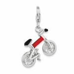 Silver Enamel Bicycle 3-D Movable Charm