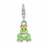 Silver Enamel Frog with Crown 3-D Charm