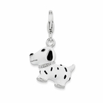 Silver Enamel Spotted Dog 3-D Charm
