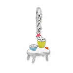Silver Enamel Table with Bowls Charm