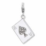 Silver Enameled 3-D Ace�of Spades Charm