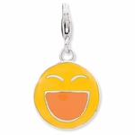 Silver�Enameled 3-D Laughing Face Charm