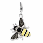 Silver Enameled 3-D Yellow Jacket Bee Charm