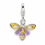Silver Enameled Bee Charm