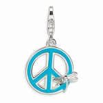 Silver Enameled Peace Sign with Dragonfly Charm