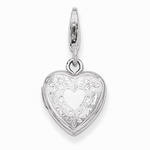 Silver Etched Heart Locket