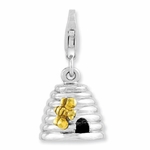 Silver & Gold Plated 3-D Beehive Charm