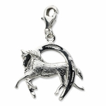 Silver Horse and Shoe Charm