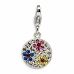 Silver Multicolored Crystal Round Flower Charm